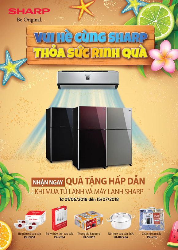 Nhiều quà tặng hấp dẫn khi mua tủ lạnh & máy lạnh SHARP