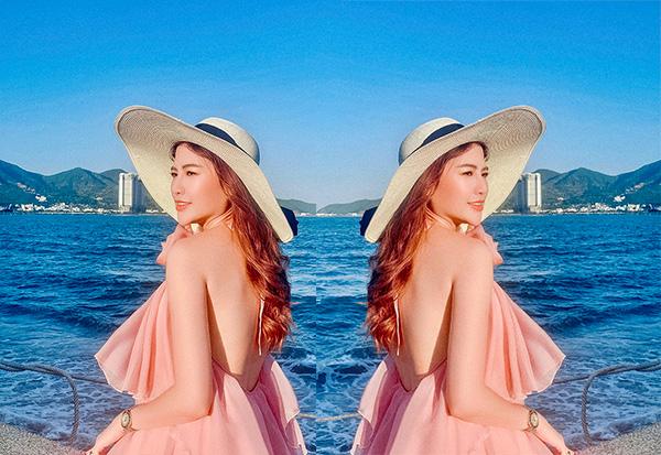 Á hoàng chuyên gia make up Misslua khoe dáng ngọc đẹp như nàng thơ giữa biển xanh, cát trắng